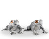 "Vagabond House Pewter Toad Salt and Pepper 4"" Long x 2"" Tall"