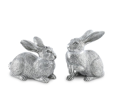 "Vagabond House Pewter Wild Hare / Rabbit Salt and Pepper Set 2.75"" Tall"
