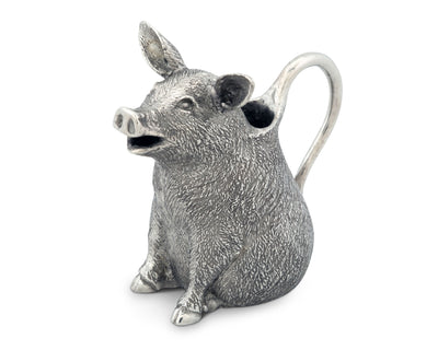 "Vagabond House Soild Metal Pewter Happy Pig Creamer  Milk for Coffee or Tea 4"" Long x 3.75"" Tall"