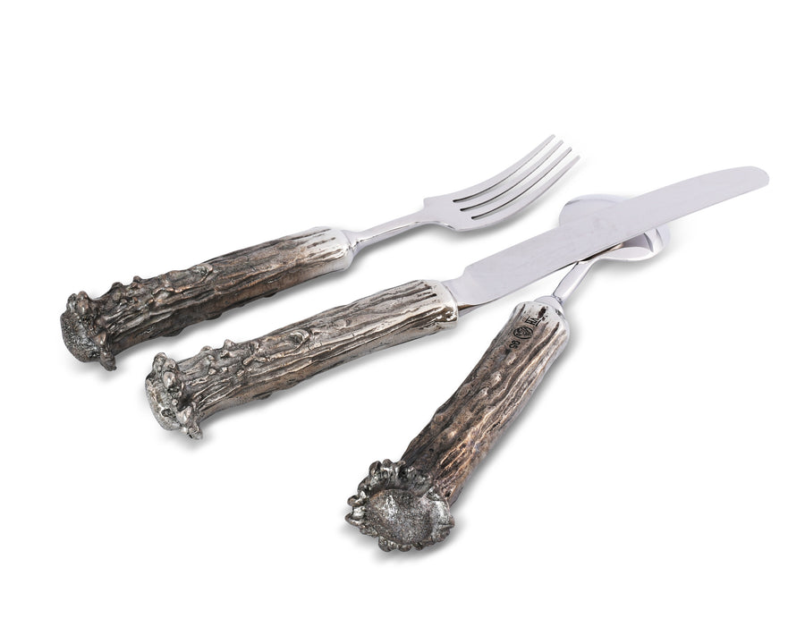 Vagabond House 5 Piece Pewter Antler Flatware Set Place Setting