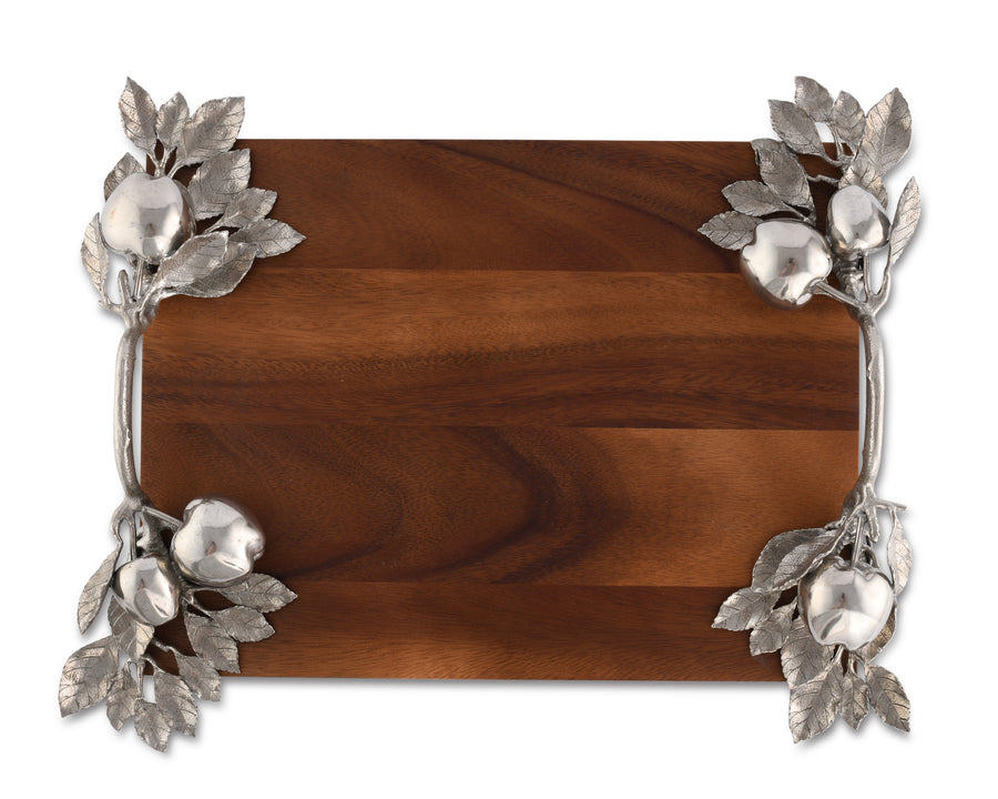"Vagabond House Pewter Apple Branch Hardwood Cheese Tray Charcuterie Platter & Serving Tray 16"" Long x 12"" Wide"