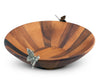 Vagabond House Acacia Wood Salad Bowl with Pewter Butterflies 16 inches Diameter Bowl  4.5  inches Tall