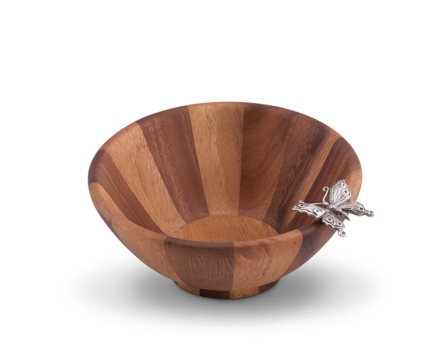 Vagabond House Single Serving Wood Salad Bowl with Pewter Butterfly 7.5 Inches Diameter Bowl 3.25  inches Tall