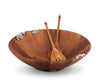 Vagabond House Wood Salad Bowl and Servers Lilacs Pattern 16 Inches Diameter