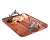 Vagabond House Wood Tray with Pewter Hopping Bunny Handles 19.75 Inches Long x 15.5 inches Wide