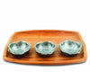 Vagabond House Acacia Serving Tray with Pewter Poppies and Glass bowls