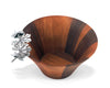 Vagabond House Small Acacia Wood Bowl with Pewter Dragonfly