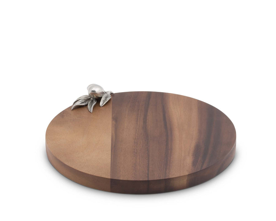 "Vagabond House Olive Acaica Wood Cheese / Bar Board with Pewter Tuscan Olive Accect 10"" dia .75"" T"