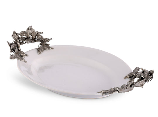 Vagabond House Stoneware Tray with Pewter Butterfly Handles Large 20.5 Inches Long