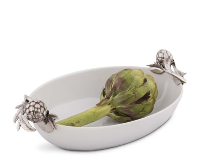 Vagabond House Stoneware Serving Dish with Pewter Artichoke Handles