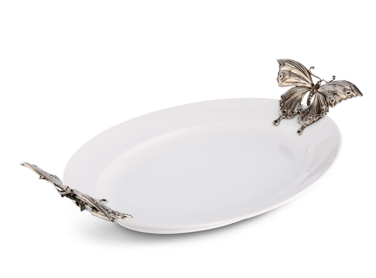"Vagabond House Stoneware Tray With Pewter Butterfly Handles  22"" Long X-Large"