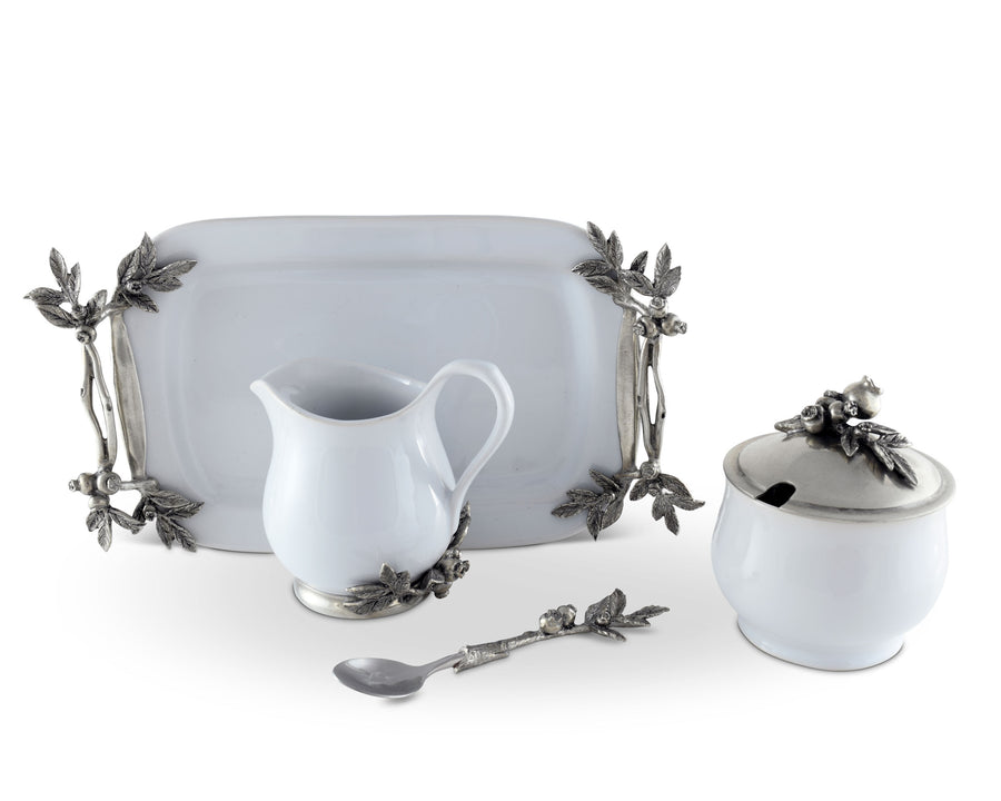 "Vagabond House Stoneware Creamer Set - Pewter Blueberry 12.25"" Long - 5 Pieces - cream pitcher, lidded sugar bowl, decorative handle sugar spoon and tray."
