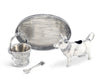"Vagabond House Solid Pewter Metal Mabel Cow Creamer Set 4 piece set Tray, Creamer, Sugar Pail and Sugar Spoon for Coffee and Tea Farmhouse Décor 4.5"" Tall"