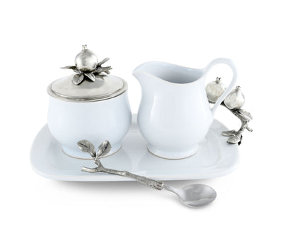 "Vagabond House Pewter Pomegranate Stoneware Creamer  5 Pieces creamer pitcher, lidded sugar bowl, decorative handle sugar spoon Symbol for Righteousness and 12.25"" long Tray for Coffee and Tea"