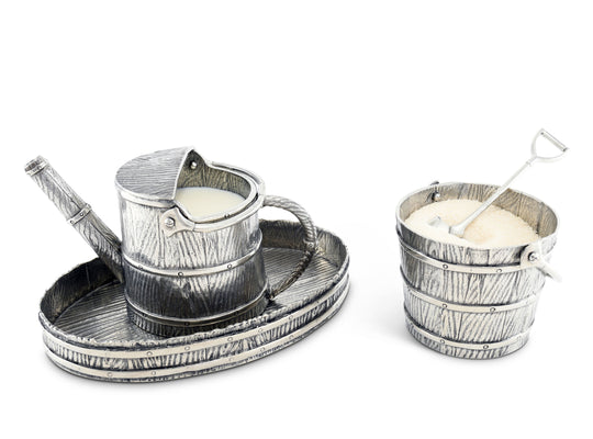 "Vagabond House Creamer Set Pewter Watering Can - 4 pieces Sugar Bowl / Creamer / Tray and Spoon  7"" x 4.75"" x 5"""