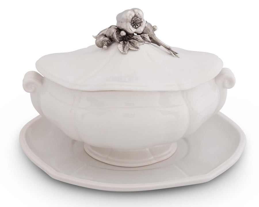 Vagabond House Stoneware Tureen with Pewter Vegetable Lid and Stoneware Tray