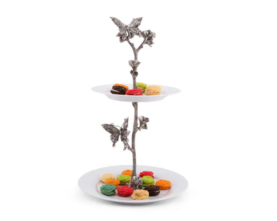 "Vagabond House Desert Stand Two Tier Handcrafted Pewter Butterfly  17"" Tall"