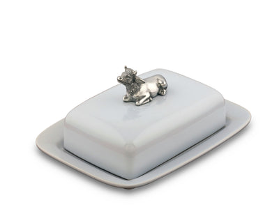 "Vagabond House Stoneware Pewter Metal Mabel the Cow Butter Cream Cheese Dish, 8"" Long x 6"" Wide"