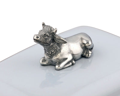 Stoneware Butter Dish with Pewter Mabel the Cow