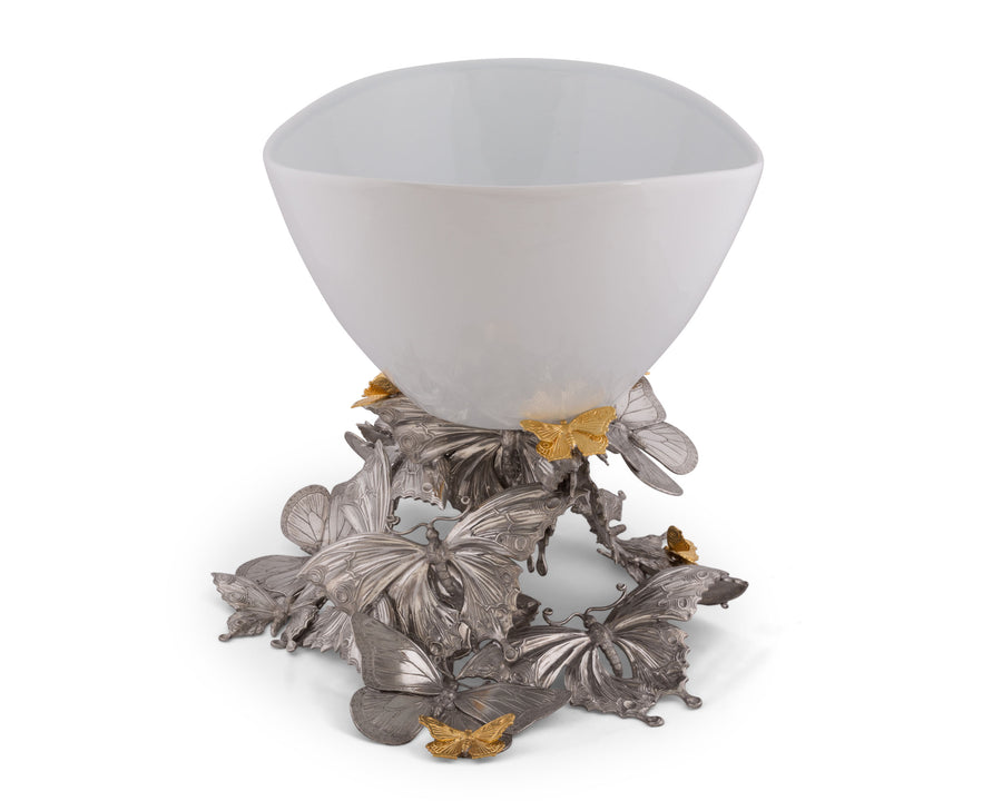 Vagabond House Pewter Butterfly Centerpiece Porcelain Bowl 14'' Long x 16'' Wide x 15'' Tall