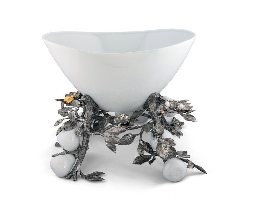 Vagabond House Pewter Pears and Leaves Centerpiece Porcelain Bowl 18'' Long x 17'' Wide x 13'' Tall