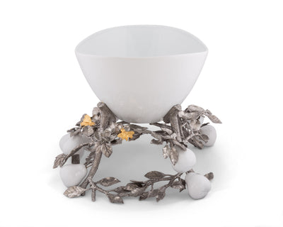 Pewter Pears and Leaves Centerpiece Porcelain Bowl