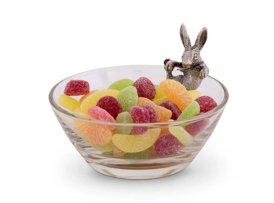 "Vagabond House Glass Dip / Candy / Snack Bowl with Pewter Climbing Bunny: 5"" Diameter; 3.5"" Tall"