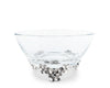 Vagabond House Glass Dip / Sauce / Nut Bowl Soild Pewter Lilacs Flower Base - Spring Tablescape 6 Inch Diameter