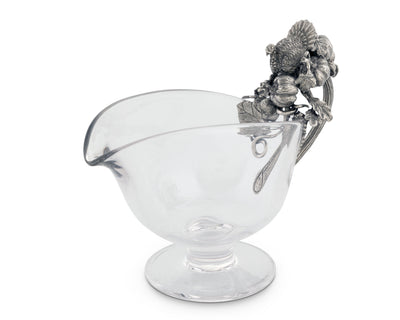 Hand Blown Glass Gravy Boat Pewter Harvest Turkey