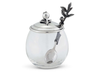 "Vagabond House Pewter Blueberry Jam Jar / Pot with Spoon 5"" Tall 12oz"