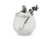 "Vagabond House Pewter Blackberry / Raspberry Jam Jar / Pot with Spoon 5"" Tall 12oz"