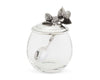 "Vagabond House Glass Pot with Pewter Metal Strawberry Jam Jar Lid and Serving Spoon 5""Tall 12oz"