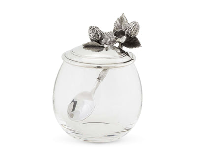 "Vagabond House Pewter Metal Strawberry Jam Jar / Pot with Spoon 5""Tall 12oz"