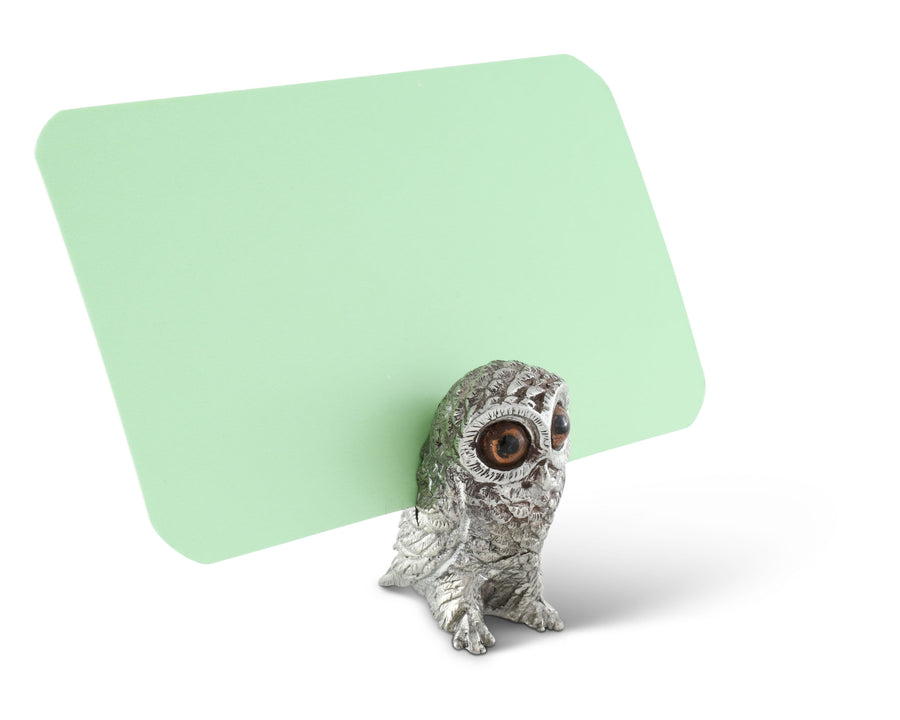 "Vagabond House Pewter Owl Place Card Holder / Cheese Markers 1 3/8"" Long"