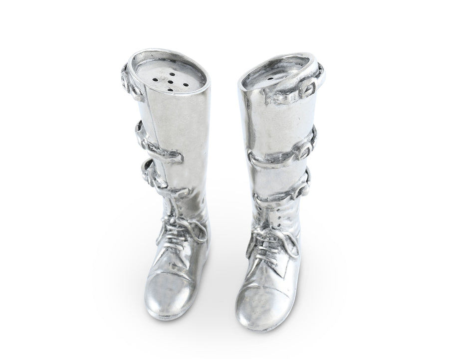 "Vagabond House Pewter Equestrian Riding Boot Salt & Pepper Shaker Set Metal Pewter 3.75"" Tall"