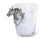 "Vagabond House Handblown Glass Ice / Wine /Bucket with Solid Handcraft Pewter Horse Head Equestrian Bit Handles, 11"" Tall"