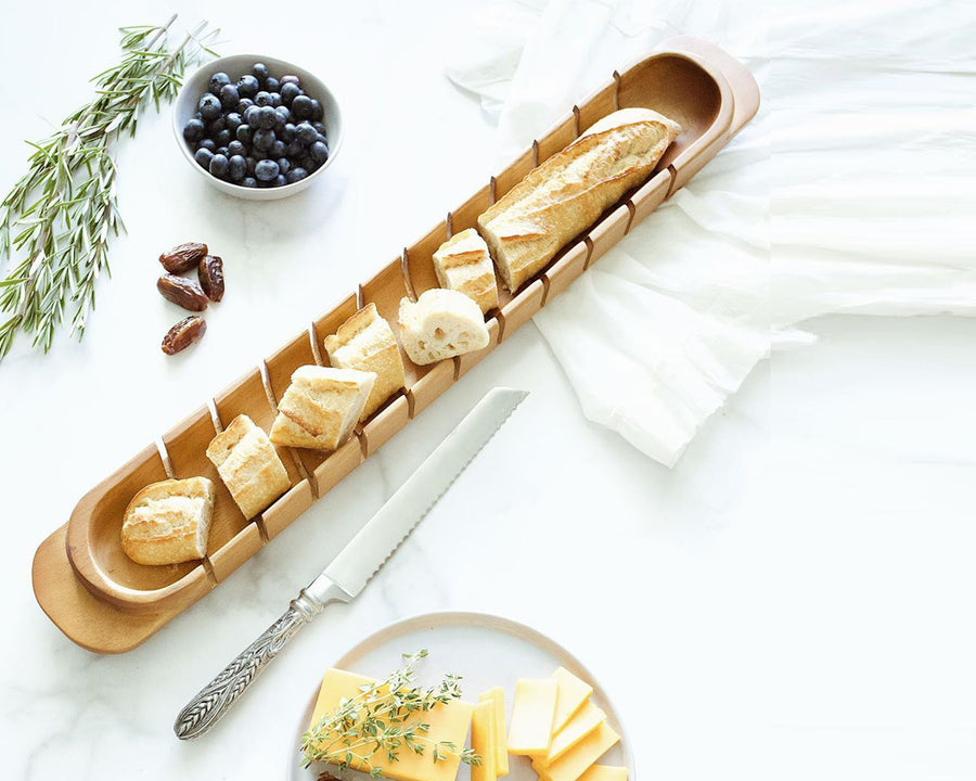 "Vagabond House Wood Baguette Serving / Cutting Board with Wheat Pattern Pewter Handle Forged Bread Knife; 26"" Long"