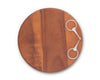 "Vagabond House Round Acacia Wood Cheese / Serving Board with Solid Pewter Horse Bit - 10"" Dia"