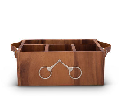 Horse Bits Leather Handles Flatware Caddy