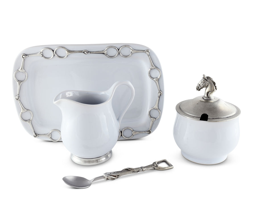 "Vagabond House Stoneware Sugar & Creamer Set ""Equestrian"" with Tray and Solid Pewter Accents, 5-Pieces - 4.5"" Tall, 9"" Long"