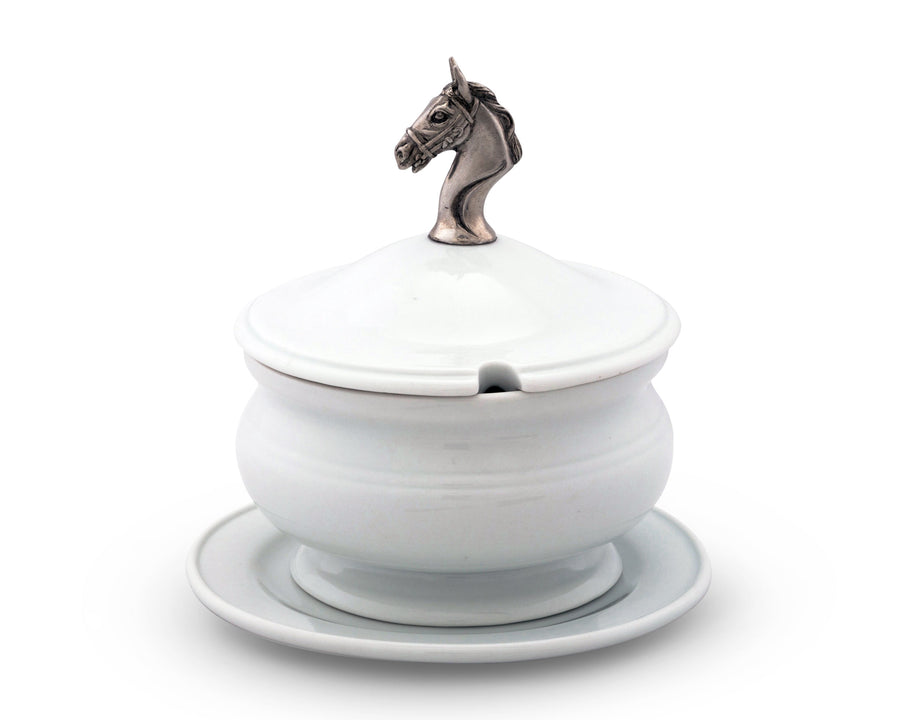 "Vagabond House Lidded Porcelain Soup / Sauce / Gravy Bowl with Solid Pewter Horse Head Handle / Knob - 6.25"" Tall, 6.25"" Wide"