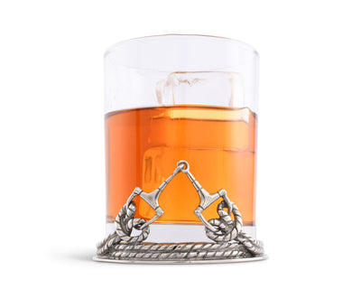 "Vagabond House D Ring Equestrian Horse  Double Old Fashion / Bar / Whiskey / Juice Glass 4.25"" Tall / 8oz - Sold as Single"