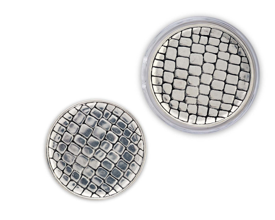 "Vagabond House Pewter Alligator Skin Coaster (set of 6) 4.5""Diameter"