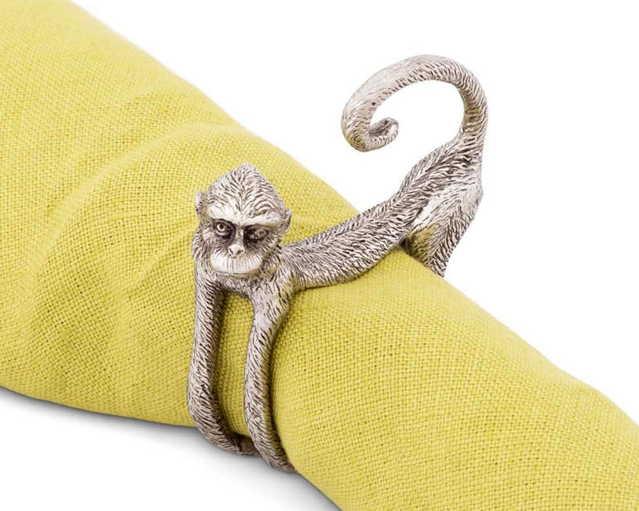 "Vagabond House Pewter Monkey Napkin Ring 3.5"" Diameter  (Sold as Single Ring)  Artisan Crafted Designer Rings"