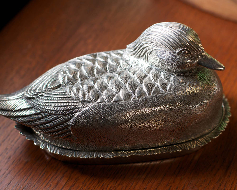 "Vagabond House Pewter Mallard Duck Butter Cream Cheese Dish 7.5"" Long x 4.5"" Wide"