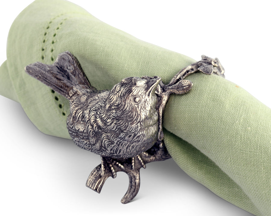 "Vagabond House Pewter Metal Handcrafted Spring Song Bird Napkin Ring 3"" Tall (Sold as Single Ring)  Artisan Crafted Designer Rings"