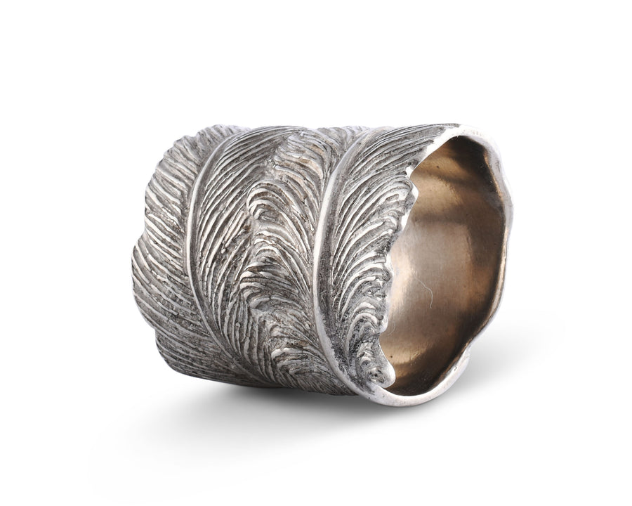 "Vagabond House Pewter Metal Feather Napkin Ring 1.5"" Diameter (Sold as Single Ring)  Artisan Crafted Designer Rings"