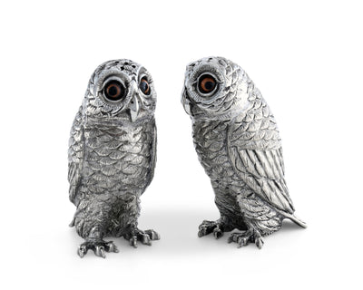 "Vagabond House Pewter Metal Owl Salt and Pepper Shaker Set with Hand-Painted Eyes 3.75"" Tall"
