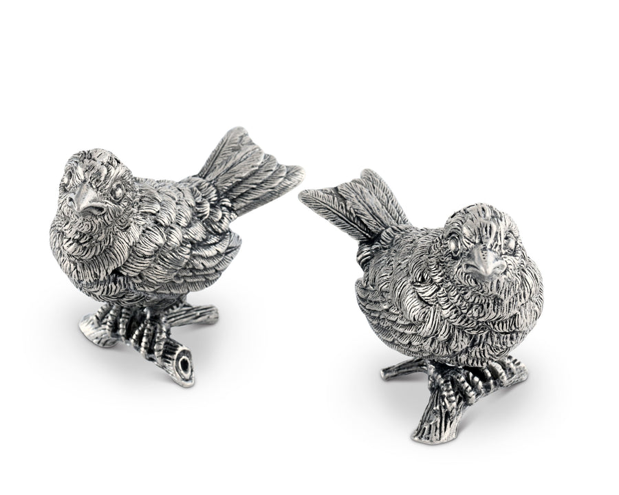 "Vagabond House Pewter Song Birds Salt & Pepper Set 3""W x 3"" Tall"