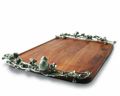 "Vagabond House Wood Serving Tray With Pewter Song Bird Handles 24"" long x 16"" wide"